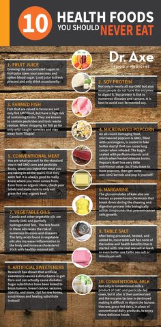 10 health foods to avoid http://draxe.com/health-foods-you-should-never-eat/