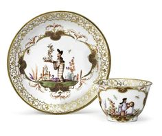 c.1723 Meissen teabowl and saucer