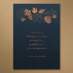 Holiday Cards - Leaves - Thanksgiving Card - Navy Shimmer | Occasions In Print, LLC (Card Link - http://occasionsinprint.carlsoncraft.com/Holiday/Thanksgiving-Cards/YM-YM34790NS-Leaves--Thanksgiving-Card--Navy-Shimmer.pro#imageSelect=147874)