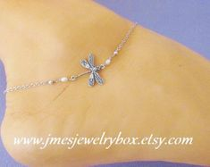 Steampunk Dragonfly Anklet Sterling Silver Ox or by BellaMantra