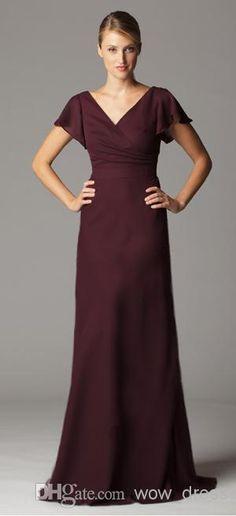 2014 New Arrival Hot Sale Fashion Evening Dresses V Neck Short Sleeve  Burgundy Chiffon A Line Floor Length Long Bridesmaid Dresses Bridesmaids  Dresses ... a262444bddaa