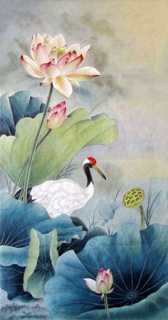Ming Zhen - Lotus and Crane Lotus Painting, China Painting, Silk Painting, Lotus Kunst, Lotus Art, Chinoiserie, Watercolor Flowers, Watercolor Art, Art Asiatique