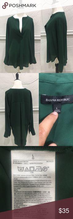 Banana Republic Green Long Sleeve Blouse Size L Banana Republic Green Long Sleeve Blouse Size L Banana Republic Tops Blouses
