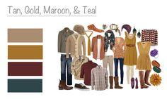 Tan, Gold, Maroon, & Teal