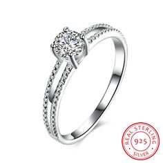925 Sterling Silver Double Layer Zircon Ring