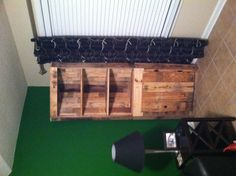 A corner cabinet made out of pallets