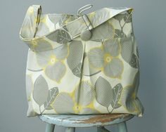 Extra Large Grey Yellow Diaper Bag, 6 Pockets, Reversible, Adjustable Strap. $88.00, via Etsy.