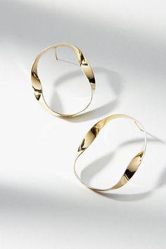 Slide View: 1: Two-Toned Ribbon Hoop Earrings