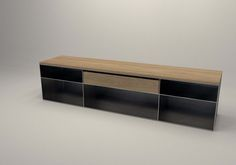 Design Metallmoebel TV-Sideboard Kaminholz-Aufbewahrung aus Stahl Holz Eiche Stahlzart