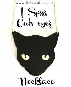 Cat Jewelry // I Spyz Cats Eyez Necklace by FelineFataleShop, £20.00