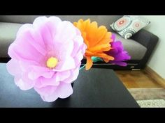 ▶ How to make giant flowers using plastic bottles + crepe paper - Recycling - YouTube