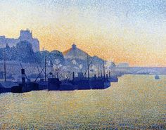 """""""La Seine à Paris"""", 1888. Albert Dubois-Pillet (1846-1890) was a French painter and army officer. He graduated from the École Impériale Militaire at Saint-Cyr in 1867, and fought in the Franco-Prussian War, during which he was taken prisoner by the Germans. After the war, he started painting, and was instrumental in establishing the Société des Artistes Indépendants and Neo-Impressionism."""