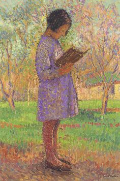✉ Biblio Beauties ✉ paintings of women reading letters & books - Henri Martin | Young Girl Reading