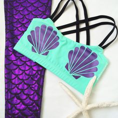 Mermaid sports bra in Sea Foam and purple. I would love to wear this top for the Disney Marathon!!