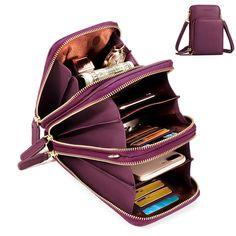Women Solid Faux leather Muti-Pocket Clutches Bag Card Bag Phone Bag  Crossbody Bag Large capacity 14d9e245a9bac