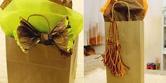 Learn how to dress up a simple kraft bag  with quick and cheap bows in this how-to blog.  http://www.nashvillewrapscommunity.com/blog/2012/11/not-so-plain-kraft-bags/#