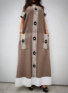 Color Block Pockets Round Neckline Maxi Shift Dress - Brown / S African Maxi Dresses, Latest African Fashion Dresses, African Print Fashion, African Attire, African Wear, Abaya Fashion, Muslim Fashion, Look Fashion, Fashion Outfits