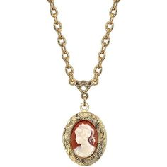 1928 Cameo Locket Necklace ($24) ❤ liked on Polyvore featuring jewelry, necklaces, multicolor, tri color jewelry, gold tone jewelry, tri color necklace, cameo necklace and ivory jewelry