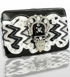 Silver Zig Zag Pattern Western Buckle Wallet Size: 7.5(L) X 4.5(H) X 1(W). Feel leather and fabric. Metal frame. Easy open to push button. 4 Credit card or business card Slots. Clear ID slot. 2 Open pockets for bills or Receipts. Removable checkbook cover. Zip pocket inside.  #Handbags,Bling&More! #Shoes