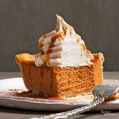 You know that coffee flavor that lulls you into a long drive-through line every October? We've captured the essence of it in pie form. Incredibly creamy, this rich Pumpkin Spice Latte Pie features 3 ounces of brewed espresso for a pick-me-up that comes courtesy of a fork instead of a cup./