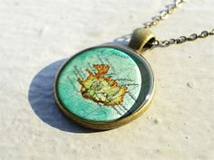 Vintage Iceland map necklace pendant charm