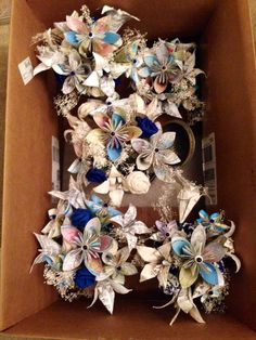 My wedding centerpieces. #paper flowers #fabric flowers #homemade #maps and music