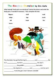 English worksheet: The Mixed-Up Chameleon by Eric Carle + key