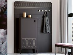 Meuble d'entrée avec range chaussures. Mod. ALYA Lockers, Locker Storage, Cabinet, Furniture, Home Decor, Folding Screens, Coat Stands, Consoles, Privacy Screens