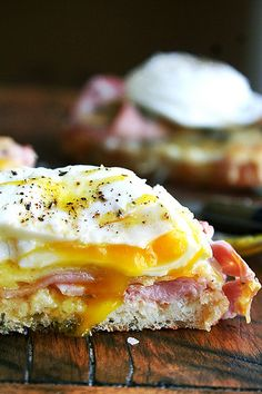 Croque Monsieur with Poached Eggs - perfect for Easter Brunch.  I can make it healthy using Ezekiel bread and uncured ham.