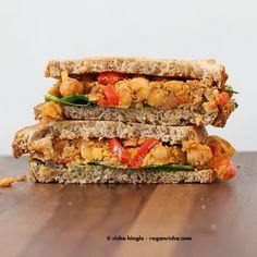 Vegan Blackened Chickpea Scramble Sandwich