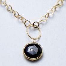 Black Onyx & Goldfill Necklace www.jewelya.com
