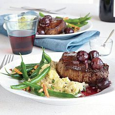 Seared Steaks with Red Wine-Cherry Sauce | CookingLight.com #myplate #protein #fruit (Note: includes wine)