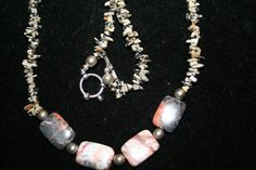 Stone beaded necklace with toggle clasp by GeniceRill on Etsy, $15.00