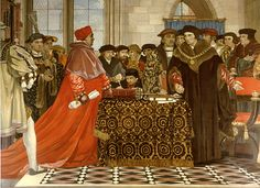 Cardinal Wolsey confronts Thomas More about Henry VIII's divorces.