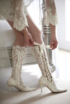 Lace wedding boots- good shoes for the second part of the day especially if the wedding is during winter.