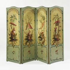 A Louis XV style painted canvas four-fold screen French, 19th century painted in the manner of Pillement.