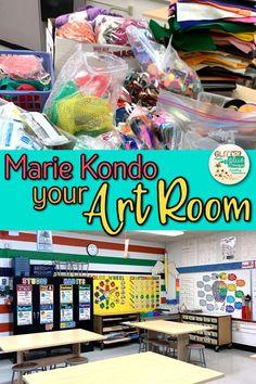 Marie Kondo Your Art Room! - Marie Kondo Your Art Room! Is your art room a hot mess? Cabinets filled with clutter? Try tidying up the Marie Kondo way. Read my 5 Tips for Tidying Up For Teachers & get your space in gear! Art Classroom Decor, Art Classroom Management, Classroom Design, Classroom Ideas, Classroom Board, High School Art, Middle School Art, Salles D'art Élémentaires, Art Room Posters