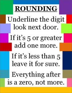 Rounding Numbers – Great poem to remember the rule. Rounding Numbers – Great poem to remember the rule. Math Charts, Math Anchor Charts, Rounding Anchor Chart, Fourth Grade Math, Second Grade Math, Grade 3, Rounding 3rd Grade, Math Help, Fun Math
