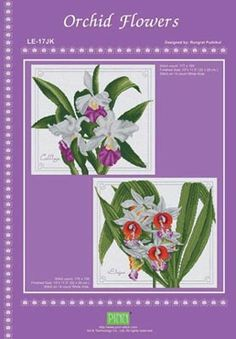 Cross Stitch Works: Red Orchid Flowers 716111211 Free Cross Stitch