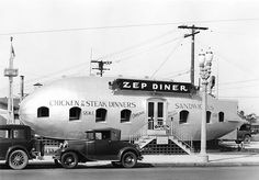 75 years ago, May today marks the anniversary of the Hindenburg disaster and an end of an era for the giant airship but the Zep Diner in Los Angeles was the place to go. Route 66, Old Photos, Vintage Photos, Vintage Cameras, Vintage Photographs, California History, Hollywood California, Wilmington California, California Usa