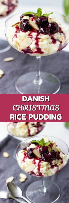 Looking for best Christmas dessert recipes? Try Risalamande - Danish rice and almond pudding with a flavorful cherry sauce. It is absolutely mouthwatering and one of the easiest holiday dessert recipes. via @https://www.pinterest.com/lavenderandmcrn/