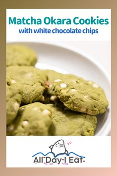 Matcha Okara Cookies with white chocolate chips - All Day I Eat - like a shark Easy Japanese Recipes, Japanese Dishes, Gourmet Recipes, Sweet Recipes, Dessert Recipes, Easter Recipes, Holiday Recipes, Matcha Cookies, Cooking Challenge