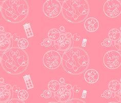 Gallifrey Police Box Pink fabric by costumewrangler on Spoonflower - custom fabric