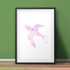 Swallow Bird  Pastel Poster  Silhouette Printable Wall Art
