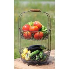 #10: Vintage Style Two Tiered Vegetable Basket Stand.