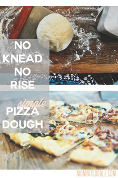 Simple no knead, no rise pizza dough. This is great for last-minute dinner or lunch because it can be thrown together in just a few minutes.