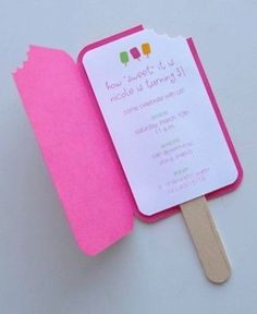 Popsicle Invitations. I have to remember this for the next bday party