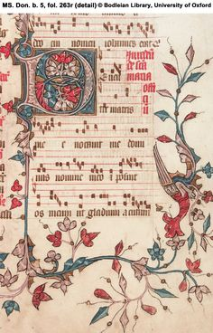 5 Noted Missal, Use of Sarum, in Latin: 'The Buckland Missal' England; Music Manuscript, Medieval Manuscript, Medieval Music, Medieval Art, Illuminated Letters, Illuminated Manuscript, Types Of Lettering, Hand Lettering, Handwritten Text