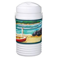 """Ship on Bay"" Igloo Cooler - home decor design art diy cyo custom"