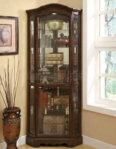 brown corner curio cabinet glass front - Glass Front Living Room 2016